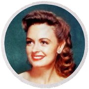 Donna Reed By John Springfield Round Beach Towel