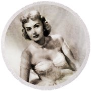 Donna Reed, Vintage Actress By John Springfield Round Beach Towel