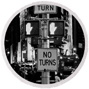 Don't Walk At Times Square Round Beach Towel