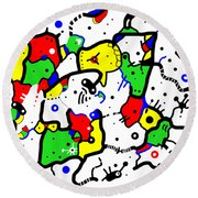 Doodle Abstract Round Beach Towel