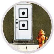 Door And Orange Hydrant  Round Beach Towel