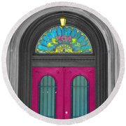 Door Fushia Round Beach Towel