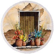 Door With Flower Pots Round Beach Towel