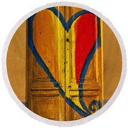 Door With Heart Round Beach Towel by Joana Kruse