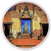 Doorway To Wat Ratburana In Ayutthaya, Thailand Round Beach Towel