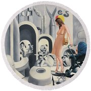 Dope Dupe Museum Round Beach Towel