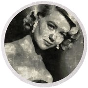 Dorothy Malone Vintage Hollywood Actress Round Beach Towel