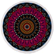 Dotted Wishes No. 5 Kaleidoscope Round Beach Towel