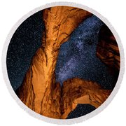 Double Arch And The Milky Way - Utah Round Beach Towel