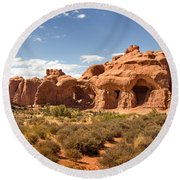 Double Arch Famous Landmark In Arches National Park Utah Round Beach Towel