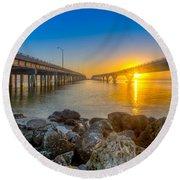 Double Bridge Sunrise - Tampa, Florida Round Beach Towel