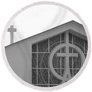 Double Cross Church Round Beach Towel
