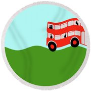 Double Decker Bus Round Beach Towel