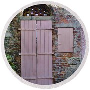 Double Doors And A Window Round Beach Towel