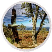 Double Exposure Osprey And High Point Nj Round Beach Towel