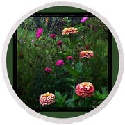 Double Framed Floral Round Beach Towel