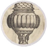 Double Goblet With Oval Decorations Round Beach Towel