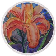 Double Lily Round Beach Towel
