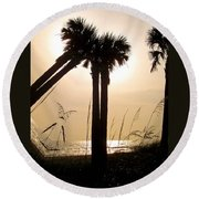 Double Palms Round Beach Towel