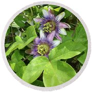 Double Passion Flowers Round Beach Towel