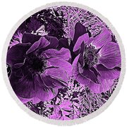 Double Poppies In Purple Round Beach Towel