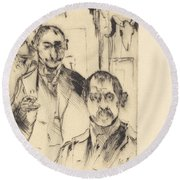 Double Portrait With Skeleton (doppelbildnis Mit Skelett) Round Beach Towel
