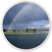 Double Rainbow At Alum Creek Round Beach Towel