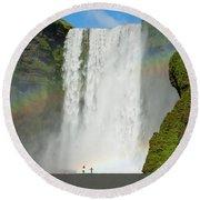 Double Rainbow By Skogafoss Waterfall Round Beach Towel