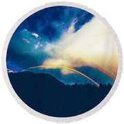 Double Rainbow Over Provo, United States Round Beach Towel