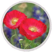 Double Take-two Red Poppies. Round Beach Towel