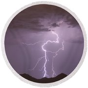 Double Trouble Fine Art Lightning Photography Round Beach Towel