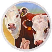 Double Trouble Hereford Cows Round Beach Towel
