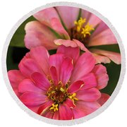 Double Vision In Pink Round Beach Towel