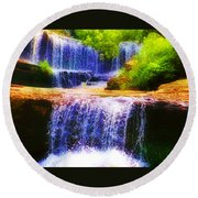 Double Waterfall Round Beach Towel by Bill Cannon