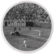 Doubles Tennis At Forest Hills Round Beach Towel