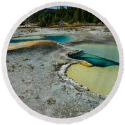 Doublet Pool Hot Spring In Yellowstone Round Beach Towel