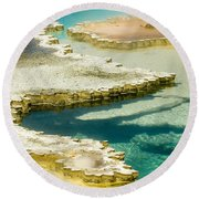 Doublet Pool In Yellowstone Round Beach Towel