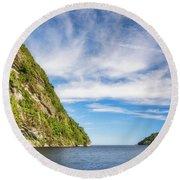 Doubtful Sound Opening To Tasman Sea Round Beach Towel