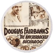 Douglas Fairbanks In The Knickerbocker Buckaroo 1919 Round Beach Towel