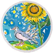 Dove And Sunflower Round Beach Towel