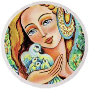 Dove Forest Fairy Round Beach Towel