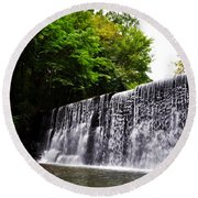 Dove Lake Waterfall Round Beach Towel