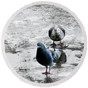 Doves On The Street Round Beach Towel