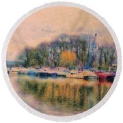 Down By The Riverside Round Beach Towel
