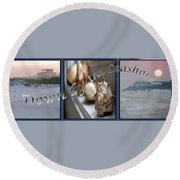 Down By The Seashore Round Beach Towel