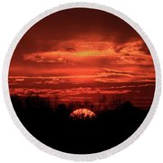 Down For The Count Sunset Art Round Beach Towel