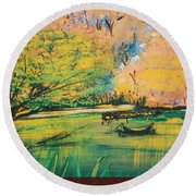 Down In The Bayou Round Beach Towel