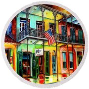 Down On Bourbon Street Round Beach Towel