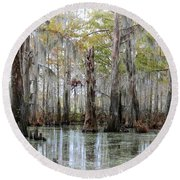 Down On The Bayou - Digital Painting Round Beach Towel by Carol Groenen