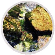 Down Stream Of Clearwater Falls Round Beach Towel